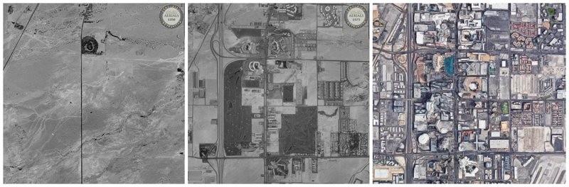 Imagens aéreas de uma parte da cidade de Las Vegas em 1950, 1973, e 2018 (Foto: HISTORIC AERIALS/GOOGLE MAPS)