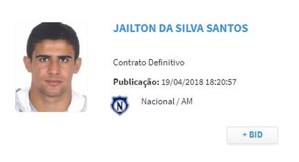 Jaílton aparece no BID da CBF (Foto: Reprodução/CBF)