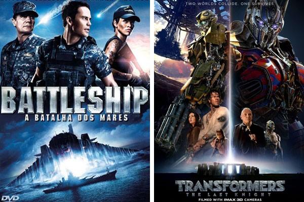 Pôsteres de Battleship - A Batalha dos Mares e Transformers - O Último Cavaleiro (Foto: Reprodução)