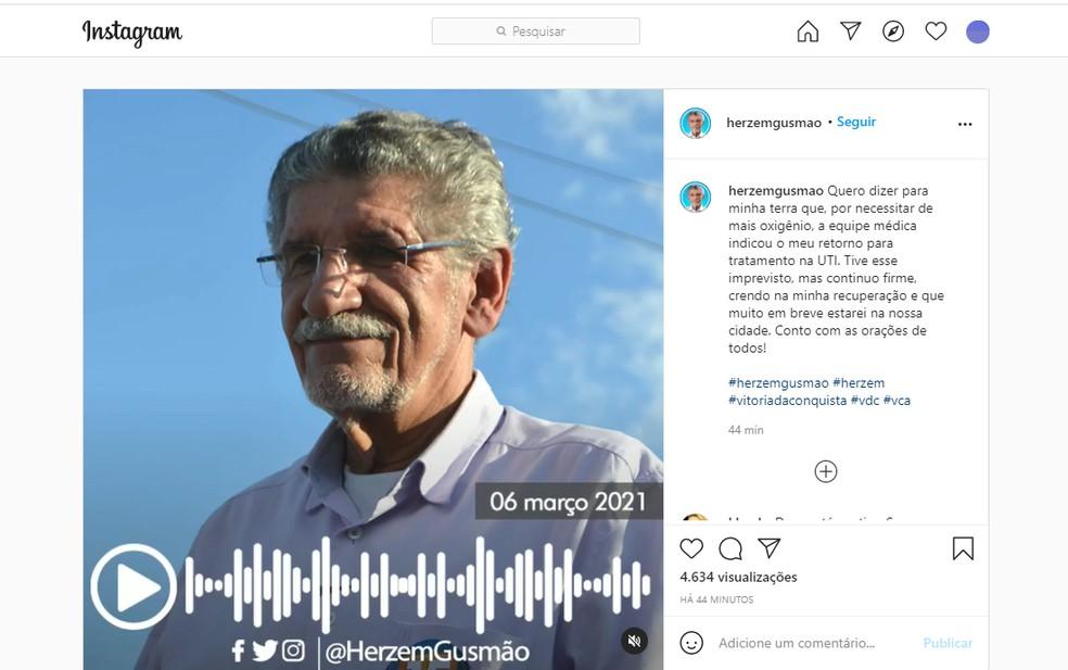 Herzem Gusmão informou pelas redes sociais que equipe decidiu pelo retorno dele à UTI — Foto: Reprodução/Instagram