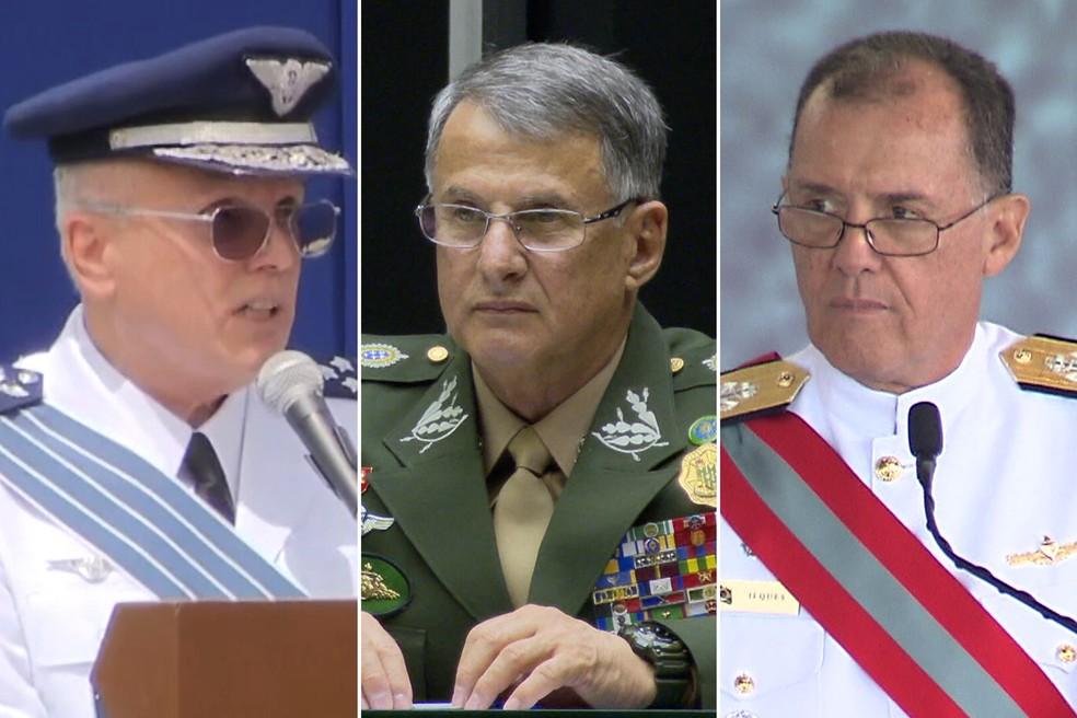 Comandantes da Aeronáutica, Antônio Carlos Moretti Bermudez; do Exército, Edson Pujol; e da Marinha, Ilques Barbosa — Foto: Acervo TV GLOBO