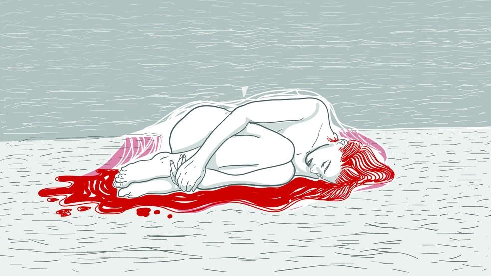 Aborto inseguro: ilustração mostra mulher no chão  — Foto: Wagner Magalhães/G1