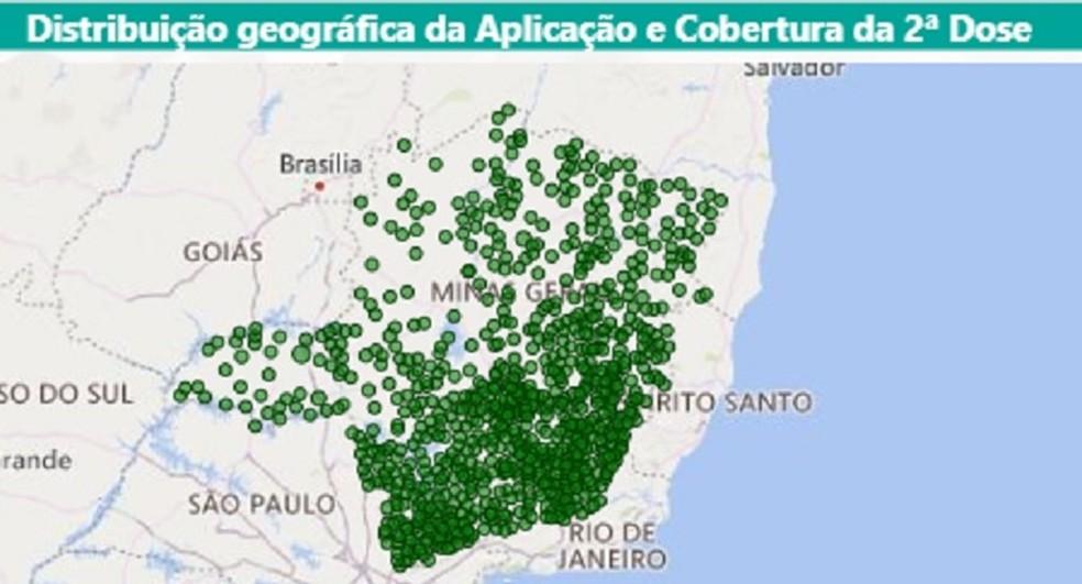 Aplicação das duas doses de vacina contra a Covid se concentra nas regiões Central, Sul e Zona da Mata de Minas Gerais. — Foto: SES-MG