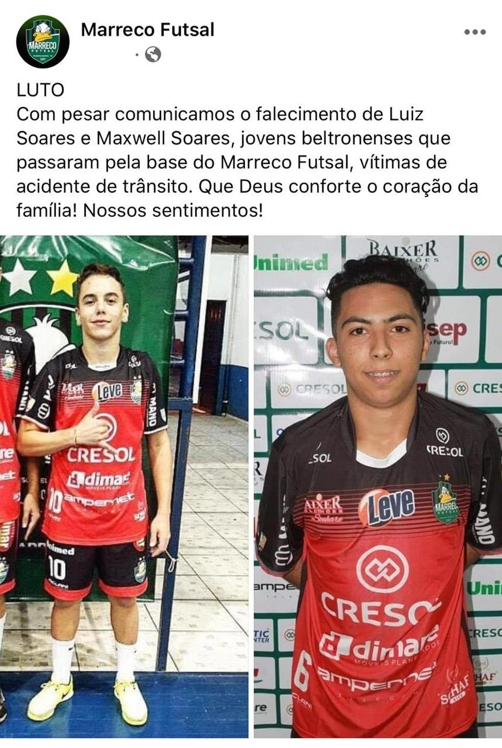 Marreco Futsal lamentou a morte dos dois ex-jogadores, vítimas de um acidente em Francisco Beltrão — Foto: Reprodução/Facebook