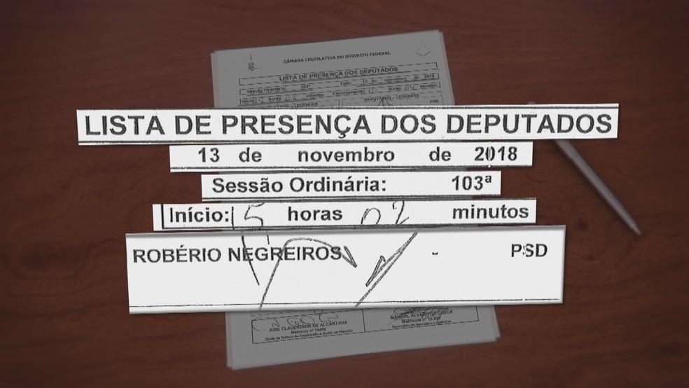 Deputado distrital Robério Negreiros 'assina' presença na CLDF durante viagem  — Foto: TV Globo/Reprodução