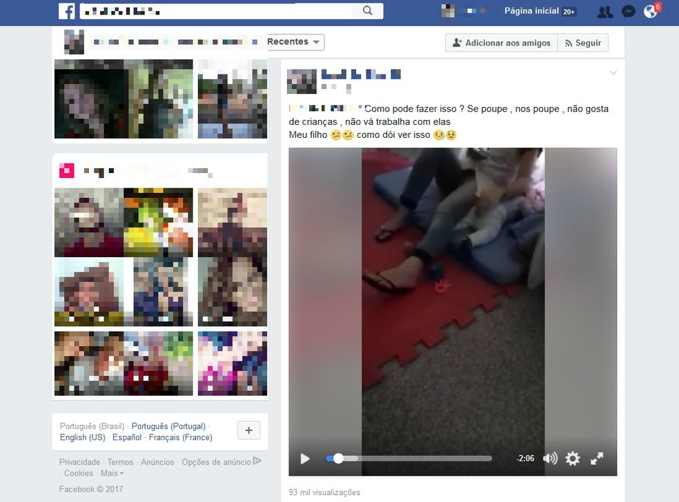 Nas redes sociais, mãe de criança divulgou vídeo de suposta agressão contra o filho em uma creche de Salto do Lontra (Foto: Reprodução/Internet)
