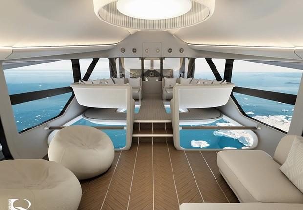 Um dos maiores atrativos do Airlander 10 é o chão de vidro (Foto: Reprodução/Facebook Hybrid Air Vehicles )