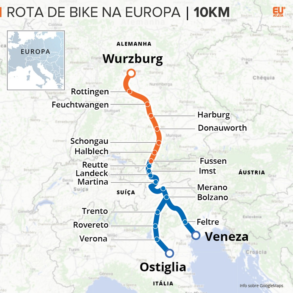 A rota que o casal ciclista vai percorrer (Foto: Editoria de Arte/Eu Atleta)