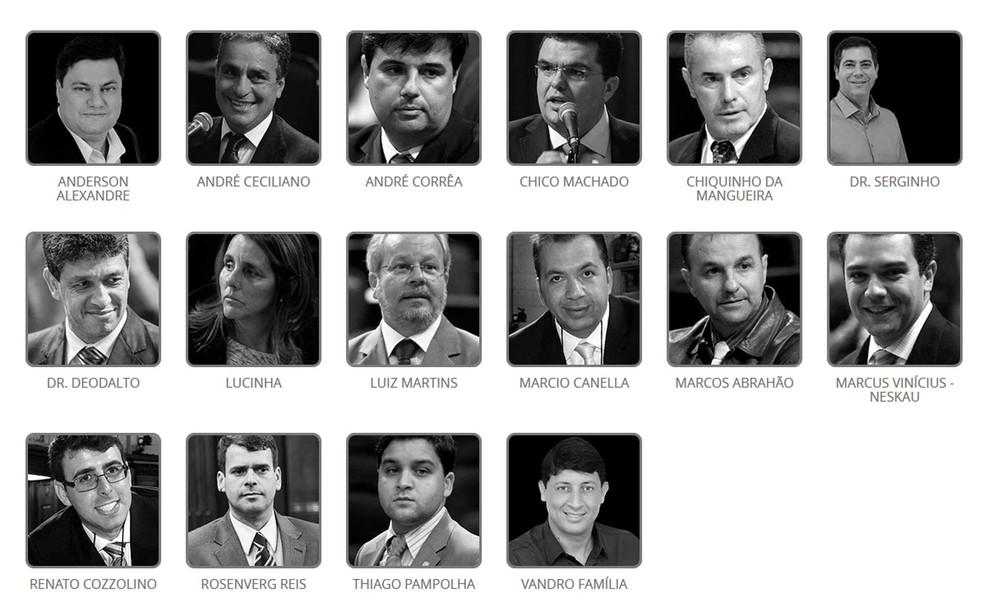 A bancada dos réus na Alerj: 1 em cada 5 deputados responde a processos criminais ou está preso — Foto: Reprodução / G1
