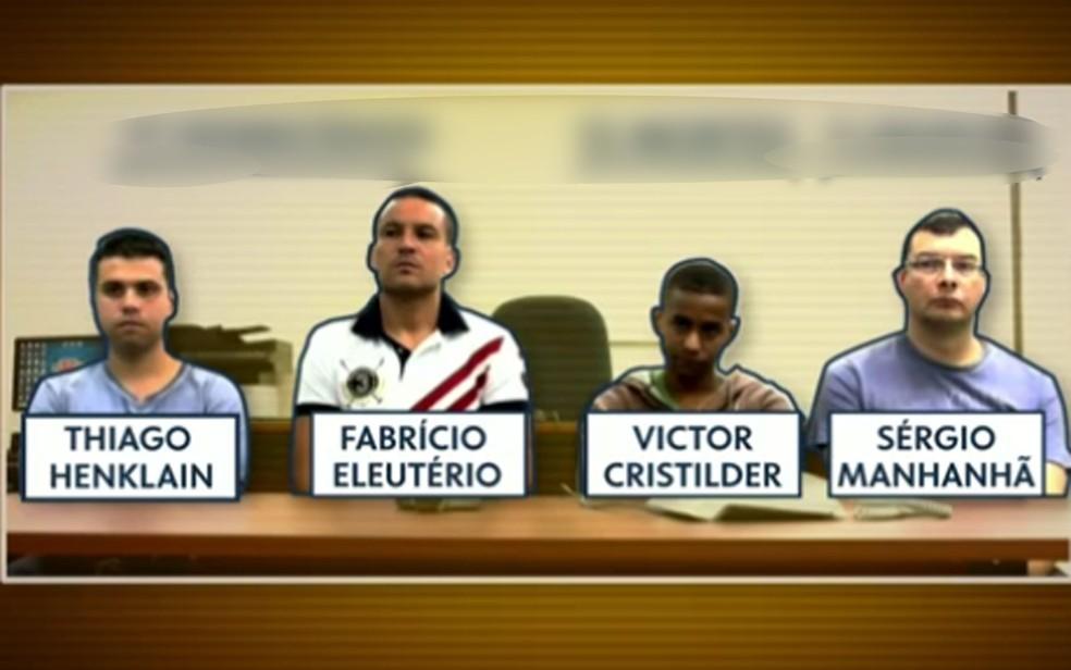 Da esquerda para à direita: 3 PMs e 1 GCM acusados de cometerem chacina (Foto: Reprodução/TV Globo)