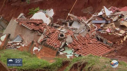 Duas casas desabam e cinco são abaladas após terreno ceder durante chuva em Monte Belo