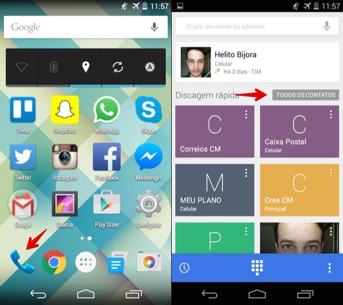 Acesse a agenda do Android (Foto: Reprodução/Helito Bijora)
