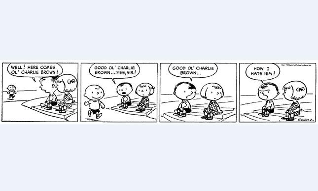 A primeira tirinha da série 'Peanuts', de Charles M. Schulz