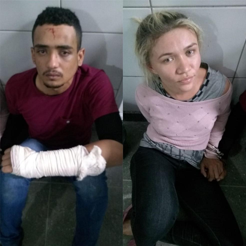 Bruno Adson da Silva Ponciano, 22, e Maria Luana Araújo de Oliveira, 27, foram capturados por agentes do Raio em Maracanaú. — Foto: Arquivo pessoal