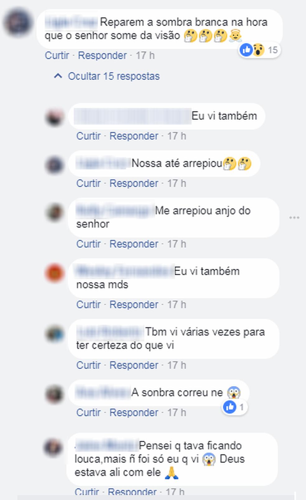 Internautas comentam sobre a possível aparição de um anjo em vídeo de atropelamento em Sorocaba (SP) na última segunda-feira (5).  (Foto: Reprodução/Facebook)