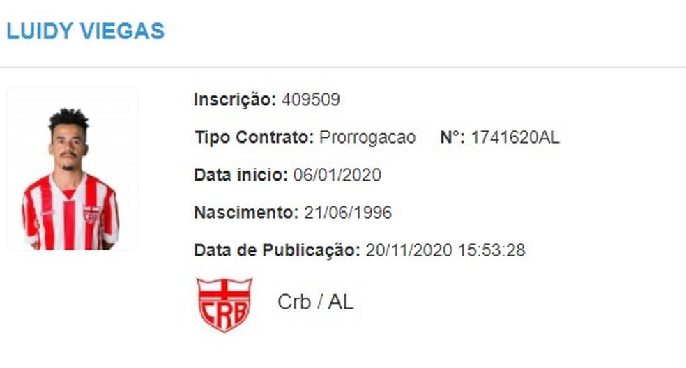 Luidy tem contrato prorrogado com o CRB — Foto: Divulgação/CBF