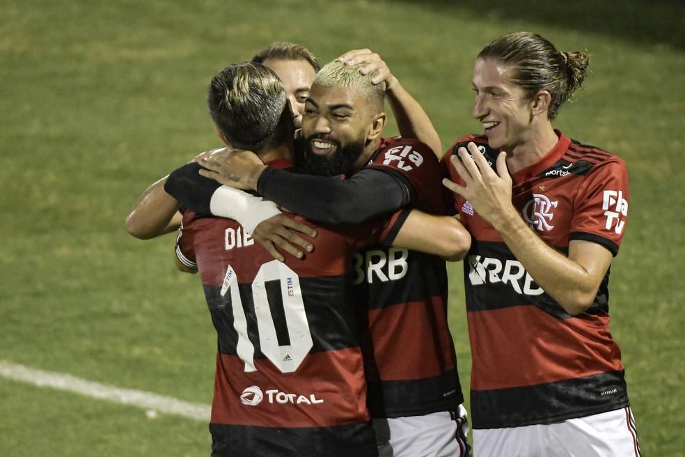 Gabigol comemora em Madureira x Flamengo — Foto: ANDRÉ FABIANO/CÓDIGO19/ESTADÃO CONTEÚDO