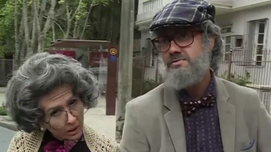 Tatá Werneck e Gabriel Godoy 'envelhecem' para disfarce em 'Haja Coração'