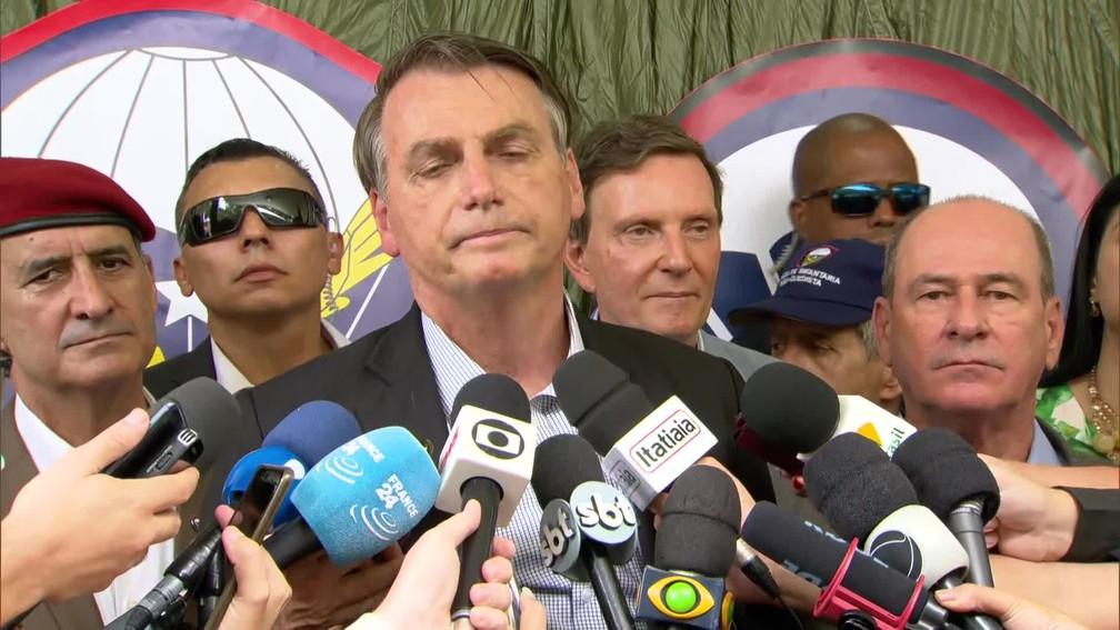 Bolsonaro comenta chegada de óleo ao RJ — Foto: Reprodução/GloboNews