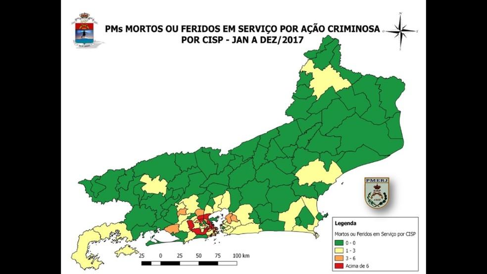 Mapa apresentado em conferência mostra região metropolitana do Rio como principal local de mortes de policiais (Foto: Polícia Militar/Divulgação)