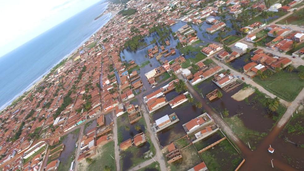 Município de Touros decretou situação de emergência por causa das fortes chuvas (Foto: Divulgação/Defesa Civil )