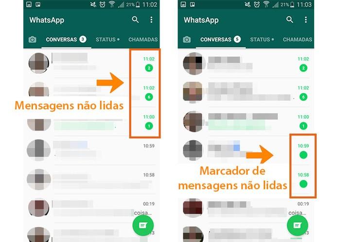 Verifique o marcador de novas mensagens no WhatsApp (Foto: Reprodução/Barbara Mannara)