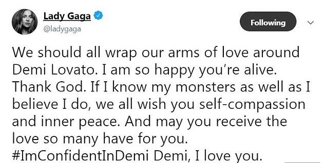 A mensagem de Lady Gaga em solidariedade a Demi Lovato (Foto: Twitter)