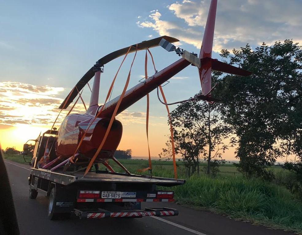 Helicóptero deve passar por perícia  — Foto: Polícia Civil/Divulgação