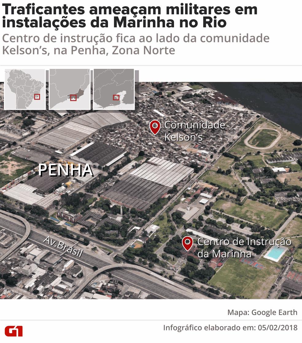 Comunidade Kelson's e Centro de Instrução da Marinha ficam lado a lado, na Penha (Foto: Fernanda Garrafiel/Arte/G1)
