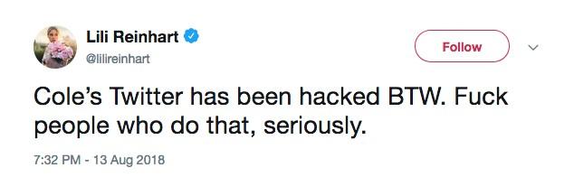 A fala de Lili Reinhart sobre a invasão do hacker na conta de seu namorado (Foto: Twitter)