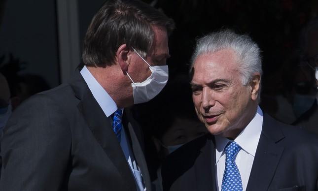 Bolsonaro e Michel Temer em 2020