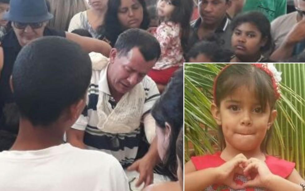 Pai se emocionou durante velório da menina Júlia Rodrigues (Foto: Renata Costa/TV Anhanguera)