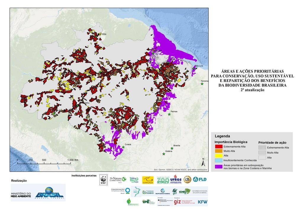 Amazônia era um dos biomas brasileiros representado nos mapas de áreas prioritárias — Foto: Divulgação