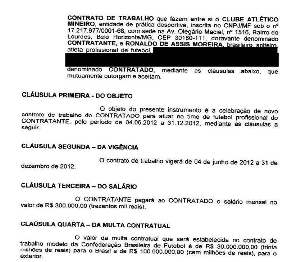 Primeira parte do contrato de trabalho entre Atlético e Ronaldinho — Foto: Reprodução