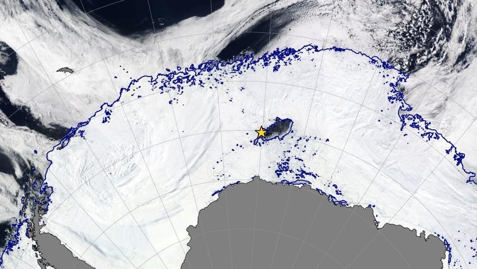 Cientistas descobrem buraco maior que a Paraíba no gelo da Antártica (Foto: Soccom)