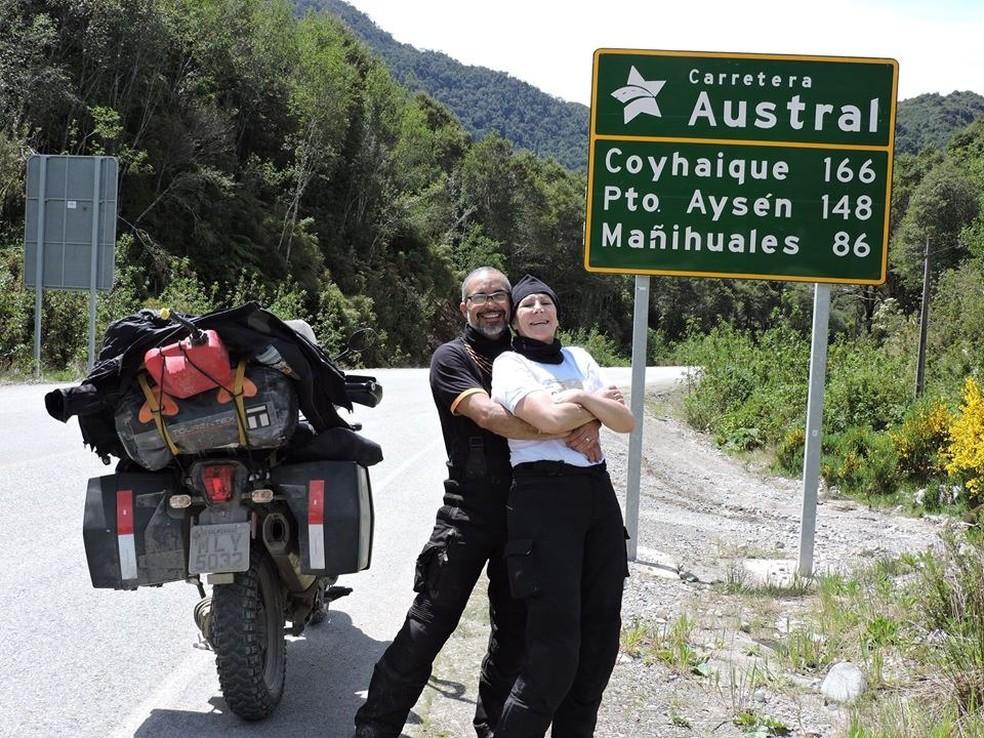 Casal de MS já percorreu milhares de quilômetros em moto ou em motorhome — Foto: Josino Pereira/Arquivo Pessoal