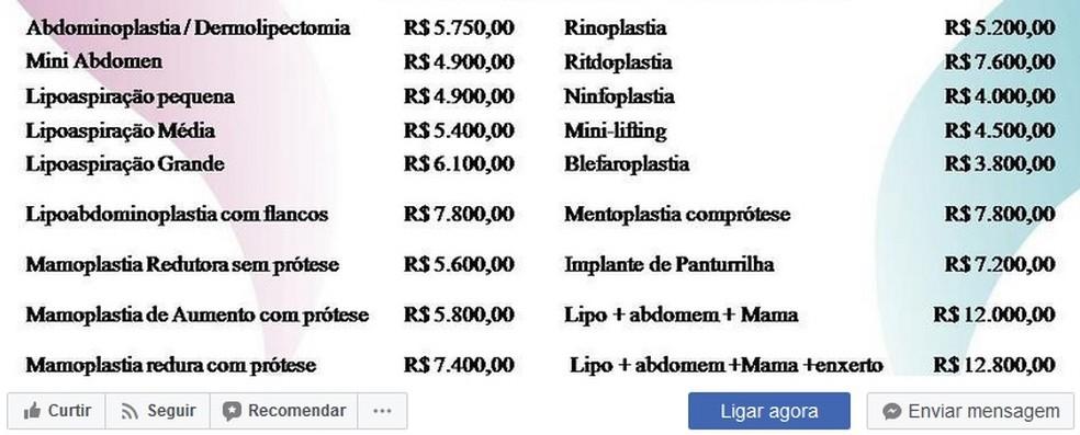 Empresa divulga em rede social tabela de preços de cirurgias plásticas (Foto: Facebook/ Reprodução)