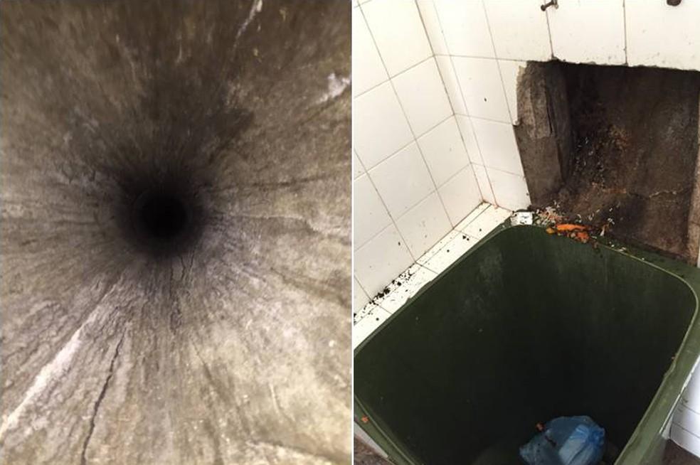 Criança foi lançada em fosso de lixo (esq.) e caiu dentro de lixeira 6 andares abaixo (dir.) (Foto: Divulgação/Polícia Civil)
