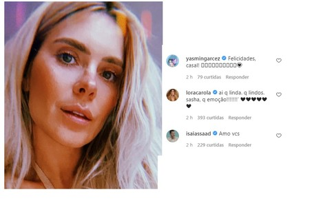 Carolina Dieckmann, que viu Sasha crescer, deixou seu recado na rede da modelo Reprodução