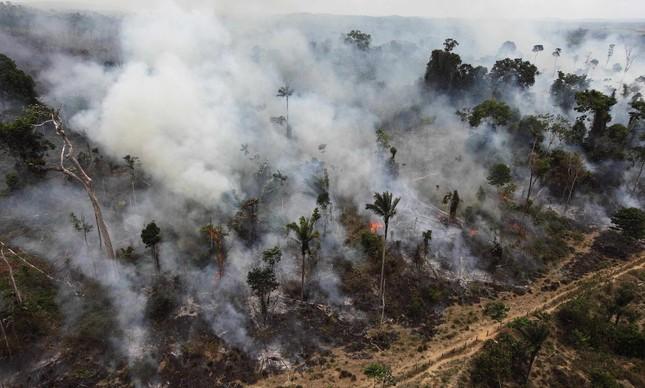 Incêndio em floresta de Novo Progresso, no Pará, em setembro de 2009