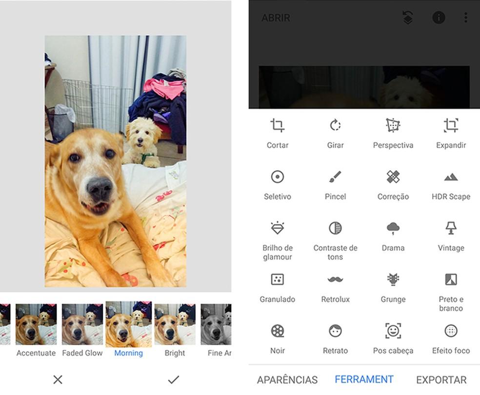 Snapseed é um app bastante intuitivo — Foto: Reprodução/Marcela Franco