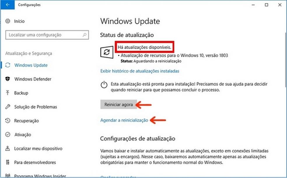 Windows Update informando atualização para Windows 10 disponível (Foto: Reprodução/Raquel Freire)