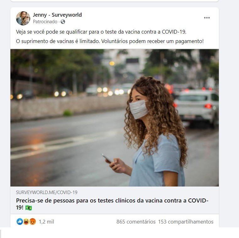 Anúncio no Facebook
