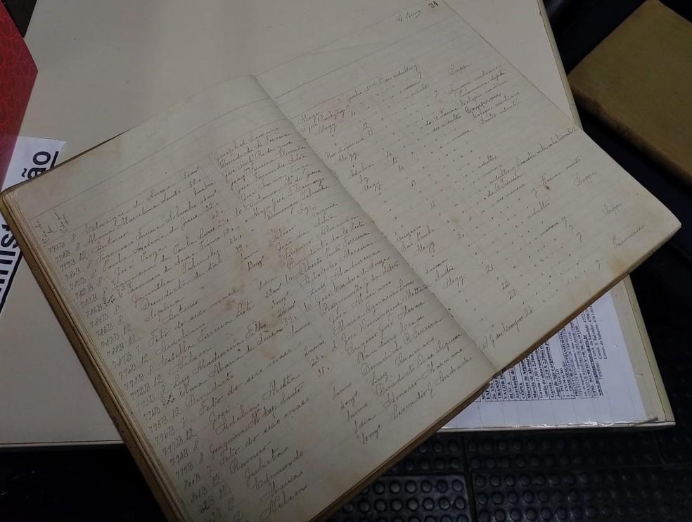 Livro de registro de mortos que indicam as vítimas fatais da gripe espanhola do cemitério São Salvador — Foto: Ralph Siqueira/TV Diário