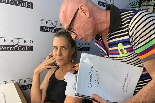 A atriz Dedina Bernardelli e o diretor Gilberto Gawronski (Foto: Arquivo pessoal)