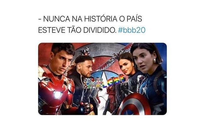 O paredão entre Felipe, Manu e Mari, no 'BBB' 20, que já bateu a marca de 550 milhões de votos, tem motivado vários memes. Os internautas brincam com a rivalidade entre os ex-namorados Bruna Marquezine e Neymar, que têm torcidas diferentes (Foto: Reprodução)