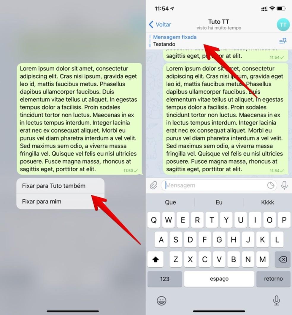 Fixando uma mensagem no Telegram — Foto: Reprodução/Helito Beggiora