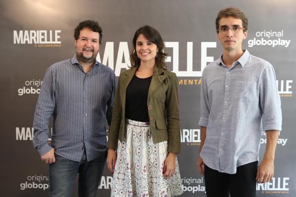 Ricardo Villela, Eliane Scardovelli e Caio Cavechini, que integram equipe de 'Marielle - O Documentário' — Foto: Reginaldo Teixeira/Globo