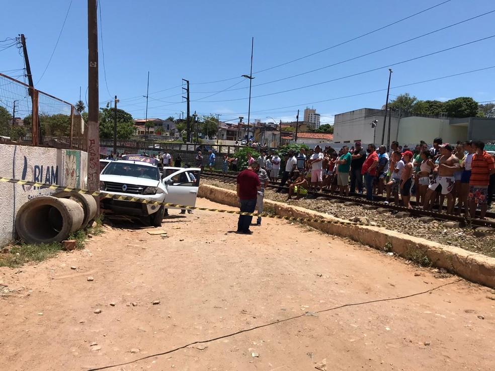 Motorista tentava fugir de tiroteio quando atropelou o idoso em Natal — Foto: Ayrton Freire/Inter TV Cabugi