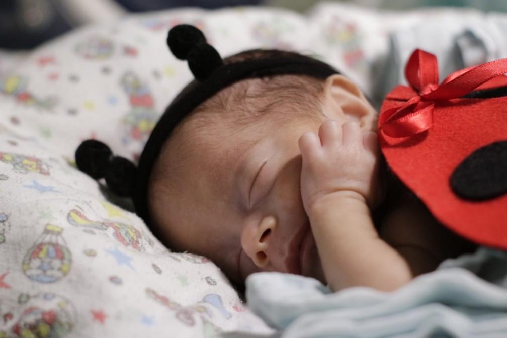Bebê fantasiada durante ensaio fotográfico em UTI Neonatal em Floriano — Foto: Divulgação / Hospital Regional Tibério Nunes